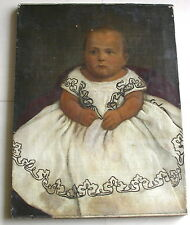 "AMERICAN FOLK ART Oil PAINTING of a Young Child - 19th Century - 24""x18"""