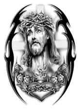 TRIBAL TATTOO  JESUS A4 TSHIRT TRANSFER TRIBAL JESUS TATTOO STYLE A4DESIGN