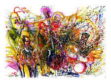 """""""Deep Flower Hill"""" Original Jazz Print created onstage by Jeff Schlanger"""