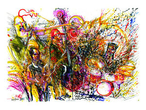 """Deep Flower Hill"" Original Jazz Print created onstage by Jeff Schlanger"