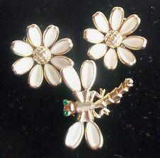 TRIFARI  WHITE MILK GLASS FLOWER CLIP EARRINGS AND DRAGON FLY BROOCH ESTATE JEW