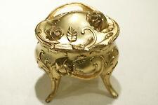 "Antique Gold Victorian Tall Roses Art Nouveau 4"" Engagement Jewelry Casket 1912"