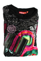 Desigual Girls Top Size 11 12 Black Pink Gray Floral Print Long Sleeve New