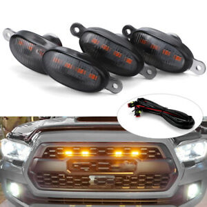 4X Smoked Lens Amber LED Front Grille Bumper Running Light For Ford F150 Raptor