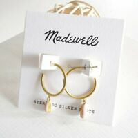 Madewell Enamel Cowrie Shell Hoop Earrings- Gold Plated Brass Silver Posts - NWT