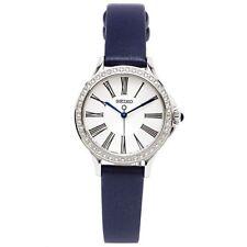 Seiko Swarovski SRZ441 P2 Silver/Blue-Grey Leather Strap Women's Analog Watch