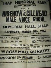 Risehow & Gillhead Flimby Maryport Male Voice Choir Poster Shap Park 1951 L3