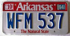 Arkansas 1994 License Plate NATURAL SUPERB QUALITY # WFM 537