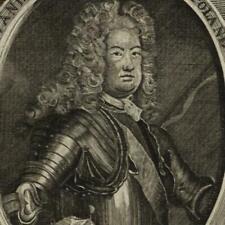 Poland rulers Augustus II King Stanislaus c.1725 scarce old print
