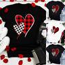 Womens Valentine's Day Love Heart Plaid Short Sleeve Tops Blouse T-Shirt Tee ER0
