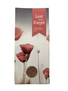 2015 $2 Anzac Lest We Forget Poppy Counterstamp Uncirculated (Red) Coin in Card