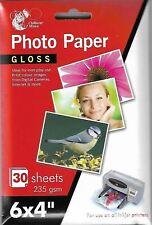"4 x Gloss 6"" x 4"" Printer Photo Paper 30 Sheets 235gsm For Inkjet Printers"
