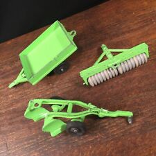 Vintage Hubley Kiddie Toy USA Farm Implement Tiller Plow Trailer Wagon PRIORITY