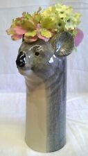 More details for quail ceramic koala head flower vase - australian wildlife animal figure model