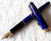 Excellent Parker Pen Sonnet Series Blue/Gold Clip 0.5mm Medium Nib Fountain Pen