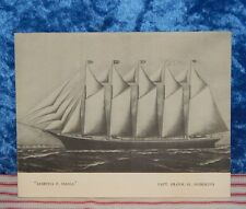 Antique Maritime MARTHA P. SMALL Five-Masted Schooner Ship Print~1953 Note & Env