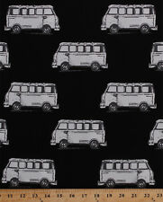 Cotton Micro Buses Vans Transportation Vehicles Black Fabric Print BTY D775.04