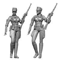 1/35 Zweiten Weltkrieg weibliche Sniper Resin Soldat Modell B0P4