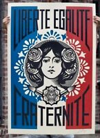 Shepard Fairey Obey LIBERTE EGALITE FRATERNITE Signed Print banksy kaws supreme