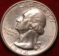Uncirculated 1934 Phildelphia Mint Silver Washington Quarter