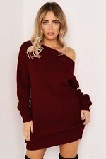 Women Winter Knit Off One Shoulder Stretched Sweater Jumper Sexy Dress Bodycon