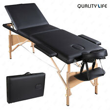 3 Fold Portable Massage Table Facial Spa Bed Tattoo w/Free Carry Case Black