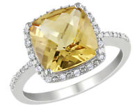 Citrine and Diamond 4.10 Carat (ctw) Halo Ring in Sterling Silver