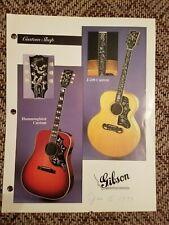 1993 Gibson Guitars Dealer Info Sheet for Custom J-200 & Hummingbird Case Candy