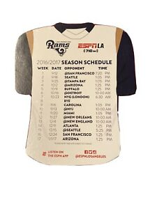 2016 Los Angeles Rams 1st NFL season white jersey shaped team magnet schedule