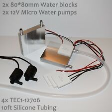 Large Water Cooling Peltier Kit - 4x TEC1-12706, 2 Pumps, 80*80 blocks, tubing