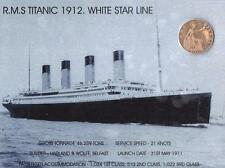 """TITANIC WHITE STAR & 1912 COIN METAL WALL PLAQUE / SIGN 8"""" X 6"""" WITH FIXING PADS"""