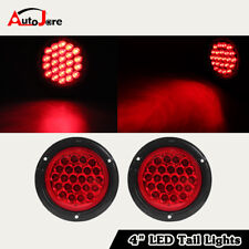 "2xRed 24 LED 4"" Round Trailer Truck Stop Turn Backup Tail Light Flush Mount Lamp"