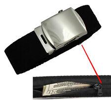 Black Travel Money Belt Hidden Security Waist Pouch Wallet Buckle for Mens