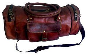 "Men's Genuine Leather Large Vintage Duffle Travel gym Weekend Overnight Bag 18"""