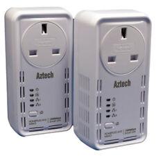 Aztech 1200AV Twinpack PowerLine HomePlug Ethernet Adapter Mains Pass Through