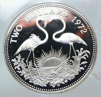 1972 The BAHAMAS Elizabeth II FLAMINGO Birds PROOF SILVER 2 Dollars Coin i85539