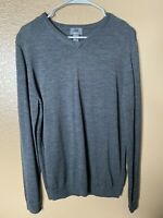 H&M Mens Long Sleeve Sweater 100% Merino Wool Charcoal Grey Size Medium