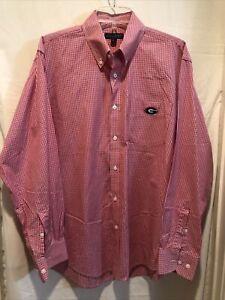 NWOT Mens Georgia Bulldogs Shirt Size M Red Checks Long Sleeves Cotton DAWGS