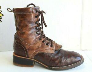 EL Malcreado Men's Ranch Work Exotic Brown Boots US Men Size 8 (Handcrafted MEX)