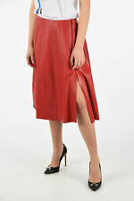 DROME women Skirts Red Leather Flared Skirt Size S Knee Lenght Red S (Standar...