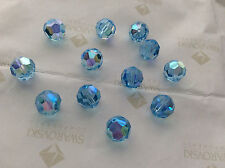 24 Swarovski #5000 8mm Crystal Aquamarine AB Faceted Round Beads