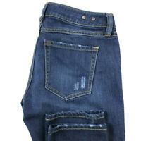 Cabi Womens 0 Slim Boyfriend Dark Wash Blue Stretch Distressed Jeans 3045