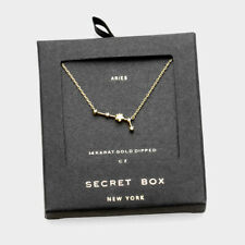 SECRET BOX GOLD DIPPED CZ ZODIAC SIGN ARIES PENDANT NECKLACE