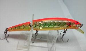 """Vintage Bomber Jointed Long A Orange/Silv 15A 4 1/2"""" 15J Screwtail Jerkbait Lure"""
