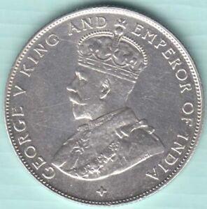 1921 Straits Settlements George V Half Dollar silver coin