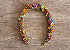 AFRICAN JEWERLY MIXED BEADED COLLAR NECKLACE HANDMADE MULTI STRAND ETHNIC TRIBAL