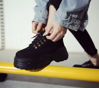 Womens Fashion Hidden Wedge Heel Platform Shoes Sneakers Lace Up Creepers Sport