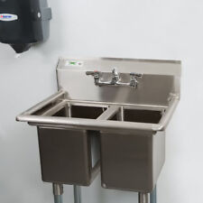 """27"""" Two Compartment Stainless Steel Commercial 2 Sink Utility Hand Wash Kitchen"""