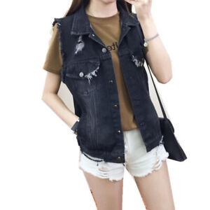 Women Slim Denim Vest Sleeveless Jean Jacket Coat Trucker Casual Waistcoat Retro