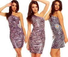 Mini Dress One Shoulder Strap Rhinestone Cut Out Club Dress Party Dress Leopard